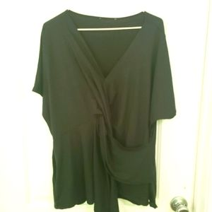 Black dolman sleeve faux wrap top sz 2x